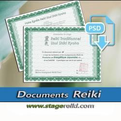 Template PSD Attestation Reiki à télécharger - 2 fichiers Recto-Verso